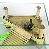 Welltobuy Acquario Turtle Essiccazione Piattaforma Fish Tank Climbing Ladder Piattaforma Galleggiante con Divertimento Giocattolo per Tartarughe, Toads, Rane o Altri rettili, 21x 18.5x 15x 14.5cm