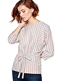 c4911827c47 Principles Womens Light Grey Stripe Print Drawstring Top