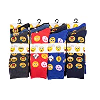 IMTD Mens 12prs Novelty Retro Pattern Emoji Character Faces Design Socks Everyday Office Work Socks Emoji Designs