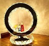 Kreative Edelstahl Kristall Tischlampen , LED-Nachttischlampe Lotus Ring, Kristalllampen Romantisches Geburtstagsgeschenk Valentinstag Urlaub, Hohlprofil (warmweiß)