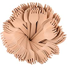 Roots Pack - Tenedores Desechables de Madera de 15,24 cm - Paquete de 100