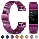 eDriveTech Bracelet Compatible avec Fitbit Charge 2, Bandes de Remplacement Magnétique de en Métal de Sport pour Fitbit Charge 2 Femmes Hommes Bracelets de Poignet étanches