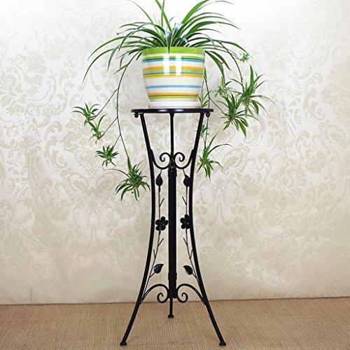 WSSF- Supports de pots Style européen Iron Flower Stand Plancher-debout Salon Intérieur Balcon Simple couche Plantes Vertes Suspendus Orchidée Présentoir Pot De Fleur Rack Couleur En Option, 33 * 78cm ( Couleur : Noir )