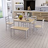 Britoniture Wood Dining Table with 4 Chairs and Bench Set Furniture Dining Set Grey