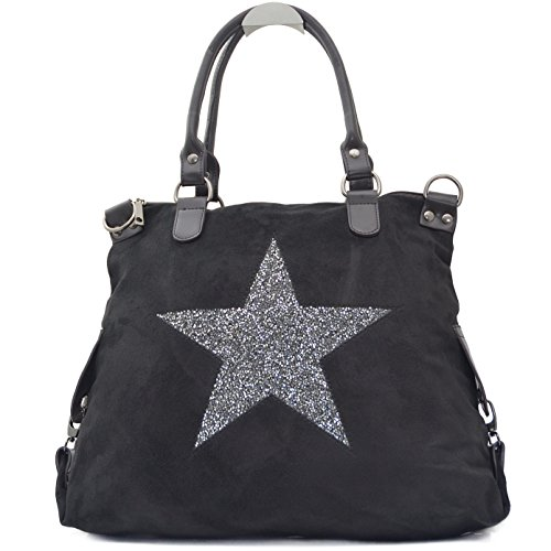 Vain Secrets Sternen Shopper Damen Handtasche mit Schulterriemen (Schwarz Samt)