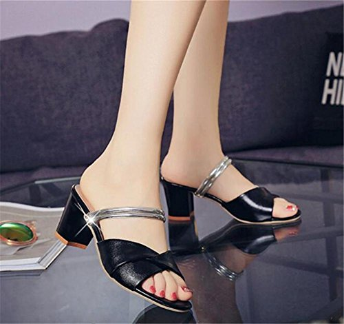 LDMB Frauen Sommer Casual Peep Toe Anti-Rutsch Breathable Hausschuhe / Sandalen Black