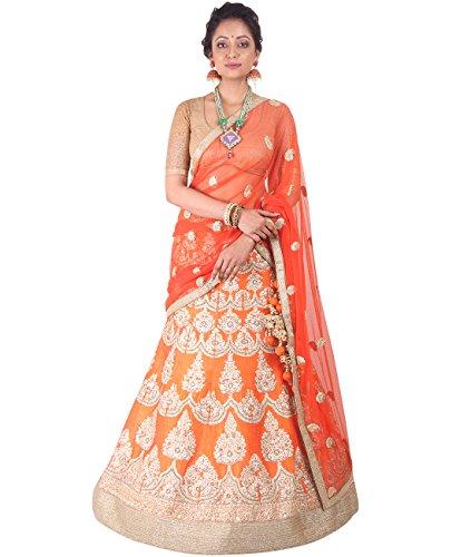 Indian Ethnicwear Bollywood Pakistani Wedding Orange A-Line Lehenga Semi-stitched-DIVISL005