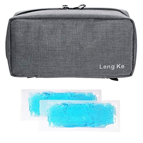 Tragbare Insulin-Reisetasche,ONEGenug Medizinische Versorgung Schutzfall Organizer medizinische Tasche für den Diabetiker (Grau+2 Kühlakkus)