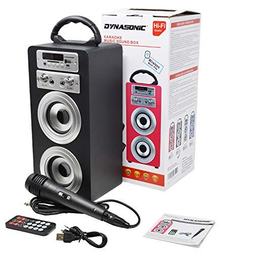 DYNASONIC Mod025 altoparlante Bluetooth – Karaoke di motivo con microfono (Nero)