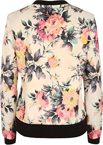 WearAll - Femme Fleur Floral Print Blouson Manteau Zip Haut à manches longues - Haut - Femmes - Tailles 36-42 Crème Rose