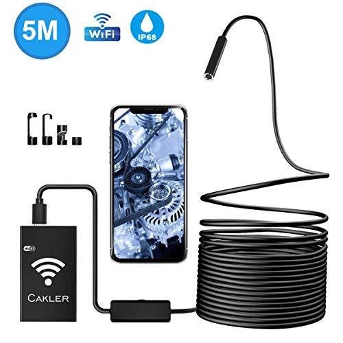 WiFi Endoskop USB Endoskopkamera Kabelloses Inspektionskamera 2.0 Megapixel 1200P HD Halbsteife Kabel Boreskope Schlange Kamera für Android und IOS Smartphone, iPhone, Windows - 5M (Schwarz) -