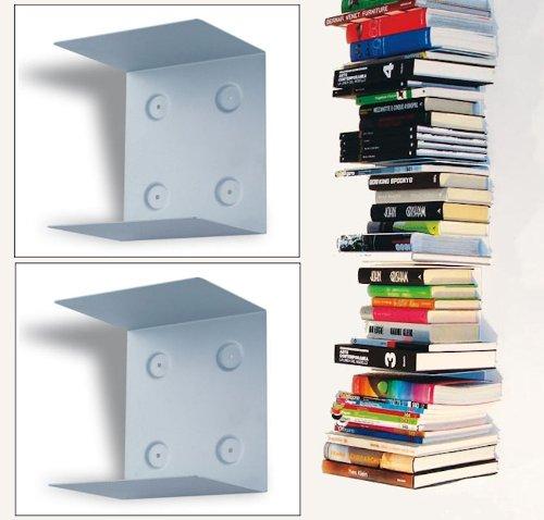 Doppelpack (2 Stück) unsichtbares Bücherregal / Schwebende Bücherstapel /Wandregal (2 Stück Bücherregal)