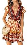 ECOWISH Damen Kleider Boho Vintage Sommerkleid V-Ausschnitt A-Linie Minikleid Swing Strandkleid mit Gürtel Rot S