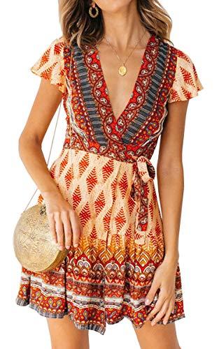 ECOWISH Damen Kleider Boho Vintage Sommerkleid V-Ausschnitt A-Linie Minikleid Swing Strandkleid mit Gürtel Rot M