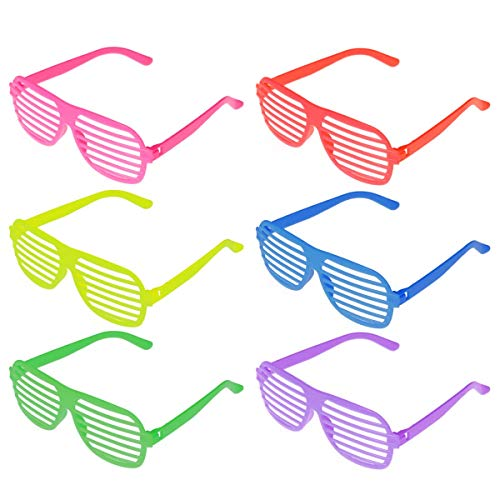 Toyvian 50 stücke Party Sonnenbrille Neuheit Shutter Shades Lustige Brille für Kinder Erwachsene Karneval Kostüm Party Favors (6 Farben Gemischte Paket)