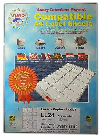 Euro Label Avery Format A4adresse–Boîte de 100DIN A4Feuilles/Total de 2400étiquettes Blanc avec coins arrondis–LL2464mm x 34mm