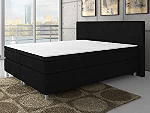 boxspringbett polsterbett boxspringbetten betten king size 140x200 oder 180x200 cm schwarz. Black Bedroom Furniture Sets. Home Design Ideas