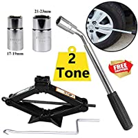 2 Tone Scissor Jack and Wheel Wrench with Speed Handle for Cars/Caravans/Honda Jazz/Audi/BMW/Benz/Ford/Truck - Tyre Repair Tools Kit Lift Jacks 5-Year Guarantee