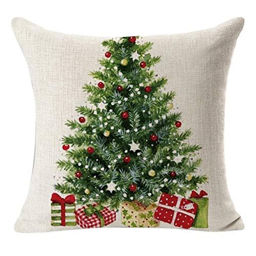 Riou Kissenbezuge Weihnachten Kissenhülle Dekokissen Throw Pillow Covers Bettwäsche Für Autos Sofakissen Startseite Dekorative Weihnachtsbaum Kissen Fall Geschenk (Mehrfarbig, 45 x 45cm)