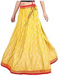 Gaurangi Women's,Girl's Gold,Hand Block Printed Designer Party Wear,Floor,Ankle Length Wedding Lehanga,Skirt