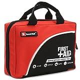 Sac de trousse de premiers secours de 160 pièces - Comprend un paquet de glace, couverture d'urgence, Glow Stick, boussole, ciseaux pour (Rouge)