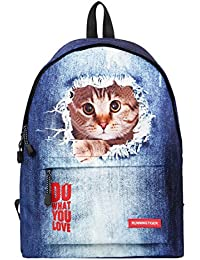 Cute Cat Dog Print Backpack School Bags Animal Daypack For Students Cat