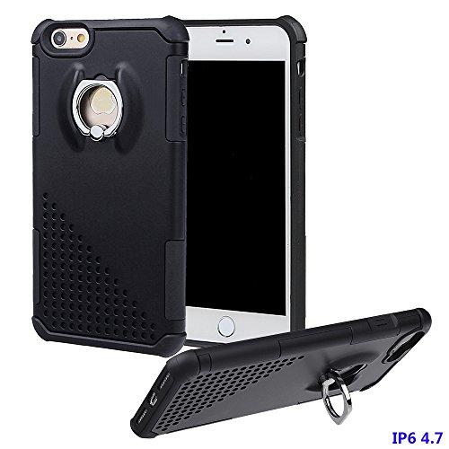 """xhorizon MW8 Drehend Metallring Kickstand Doppelschichtkasten Hybrid Hochleistung Stoßfester Absorption Schützend Case für iPhone 6 / iPhone 6S [4.7""""] Mit einem 9H gehärtet Glasfilm Schwarz"""