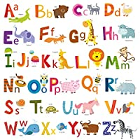 Decowall Animal Alphabet ABC Kids Wall Stickers Wall Decals (DA-1503A / DS-8002)