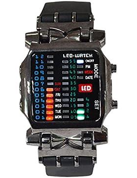 Unisex Binär LED Uhr Digital Datumsanzeige Bunt Sport Trend Armbanduhr