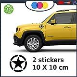 Lot de 2 Stickers muraux en Forme d'étoile Militaire US Army Jeep Renegade Suzuki 4x4 Diamètre 10 cm Noir 10 CM Noir