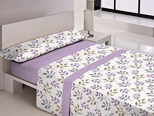 Style maison Champ Dalida Jeu de draps, algodón-poliéster, Violet, 190x 90x 3cm