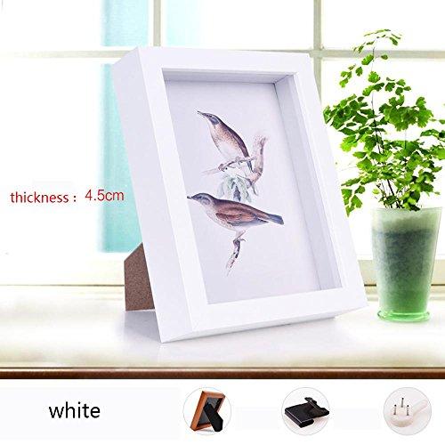 WENBIAOXUE Preuve Grosses Disposition de Cadres Dimensional Mural de la Caisse Cadre Frame Cadre de Tableau de Image de Papier créatif, White 4.5 cm, Square 6 inch