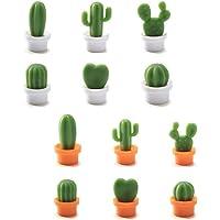 Lot de 12 Pièces Cactus Aimant 3D Frigo, Autocollant Réfrigérateur Aimant Decoratifs pour la Maison, Armoires de Bureau…