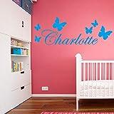 yiyiyaya Personnalisé Nom Pépinière Stickers Muraux Vinyle Art Stickers pour bébé Chambre décoration Papier Peint Art Décor Papier Peint Bleu 30 cm X 85 cm