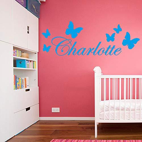 yiyiyaya Personalisierte Name Kindergarten Wandaufkleber Vinyl Kunst Decals Für Babys raumdekoration tapete Art Decor Tapete blau 30 cm X 85 cm