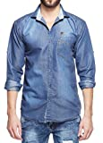 Fasnoya Men's Slim Fit Denim Casual Shirt dms44-s_Blue_Small