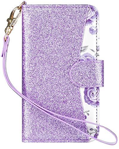 ULAK iPod Touch Hülle, iPod Touch 6g Hülle, Premium PU Leder Klapphülle mit Kartenfach, Vorne und Hinten Wallet Case Handy Schutzhülle für Apple iPod Touch 6th / 5th Generation, Glitzer Lavendel