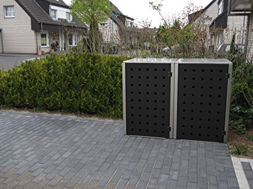 Mülltonnenbox Edelstahl, Modell Eleganza, 240 Liter, Zweierbox in Granitgrau RAL 7026