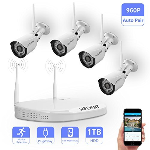 SAFEVANT 8CH 960P 1280X960 HD Wireless Video Security System NVR kits with 4PCS 1.3MP Wireless Weatherproof Bullet IP Cameras 65ft Night Vision 1TB HDD Pre-installed with HDMI cable Plug Play 4pcs 960P Cameras+8CH NVR(1TB HDD Pre-installed)
