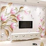 Tulipano Fiore Foglia Oro Foto Carta Da Parati Stampa Moda Dipinto A Mano Soggiorno Divano Tv Sfondo Moderno Murale In Rilievo 3D 18,15/1㎡