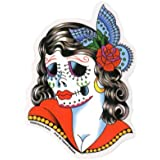 "Sunny Buick - Lady Skull Day Of The Dead autocollant Sticker - 3 1/2"" w x 5"" h - Weather Resistant, Long Lasting for Any Surface"