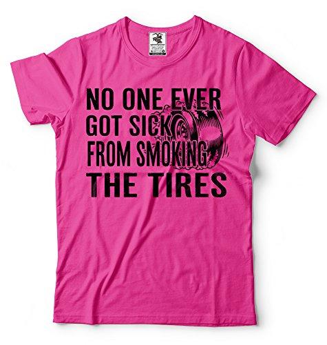 Silk Road Tees Männer-Auto-Enthusiasten T-Shirt Racing Rauchen Reifen Burnout-T-Shirt Geschenk für Auto-Liebhaber Enthusiasten 3X-Large Rosa (Racing Sportswear Männer)