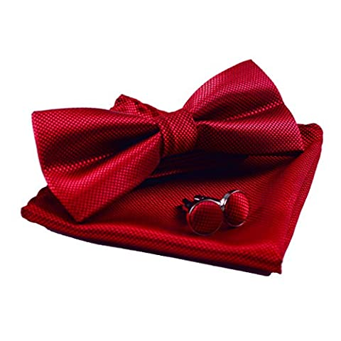 Men's Solid Formal Banded Pre-tied Bow Ties Set (Wine Red)