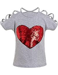 Yuxin Algodón Camiseta para Bebé Niñas - Fashion Corazón Impreso Mangas Cortas T-Shirt con Decoración de Lentejuelas Moda Verano Casual Blusa Shirts Tops