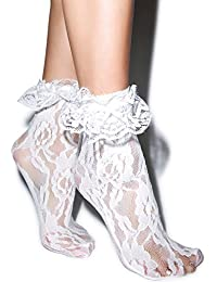 LADIES WOMENS LACE FRILLY RUFFLE ANKLE HI ANKLET SOCKS