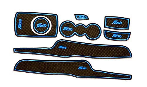 Fiesta MK7 09-13 Non Slip Interior Door Bin Mats Cup Holder Rubber Pad Set (Light Blue)