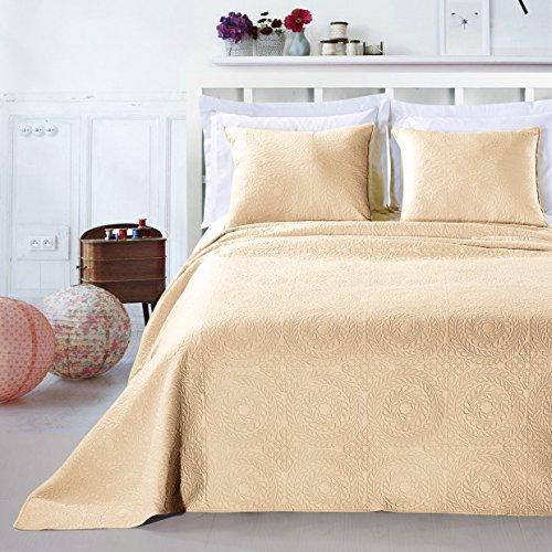 DecoKing 12789 Tagesdecke 220 x 240 cm beige mit 2 Kissenbezügen 50x60 cm Bettüberwurf Pflanzen pflegeleicht Elodie