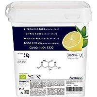 Acido Citrico 5 Kg, La Migliore Qualità Alimentare, Naturale al 100%, in polvere E330, Decalcificazione Ecologica, NortemBio, prodotto CE.