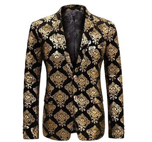 BERCICI Männer Partei Anzug Blazer Mode Gold Jacke Einreiher Hochzeitskleid Anzug As Show XL