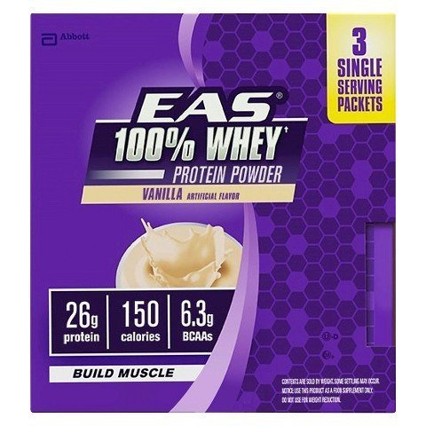 EAS 100% Whey Protein Powder Build Muscle, Vanilla, 3 Packets by EAS